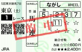 1123東京1(馬連)