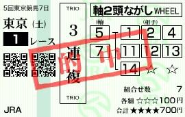 1123東京1(三連複)