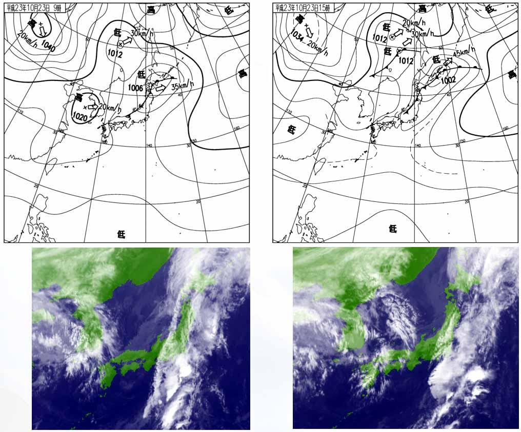 1023(2) 今日の天気図と衛星画像