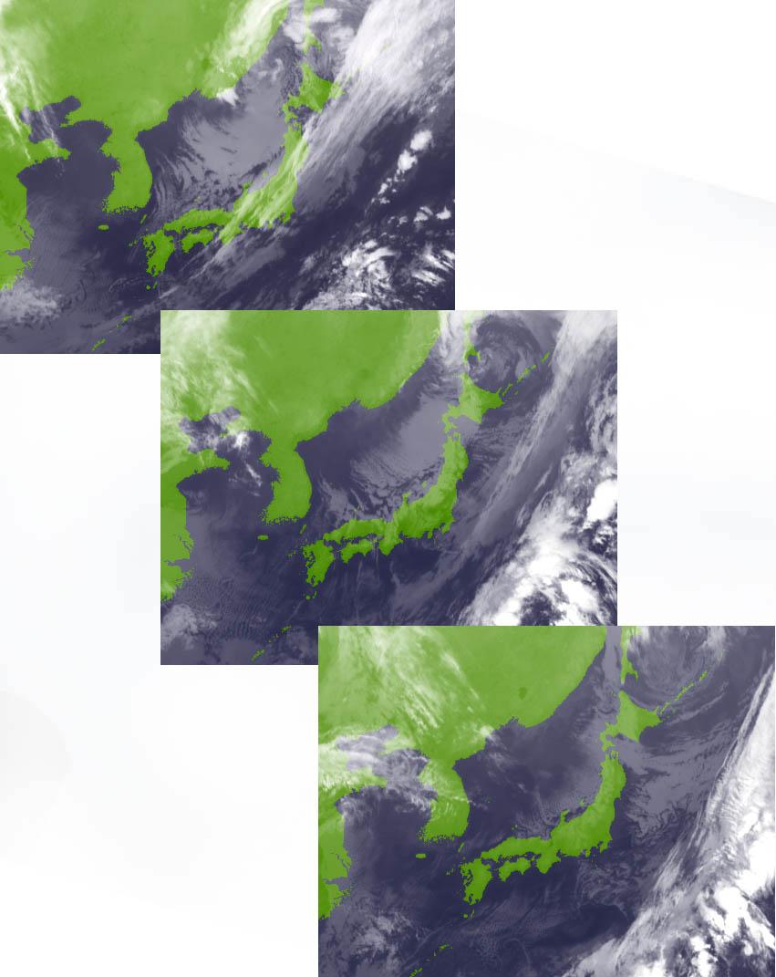 10月25日の22時、26日09時、21時の赤外画像