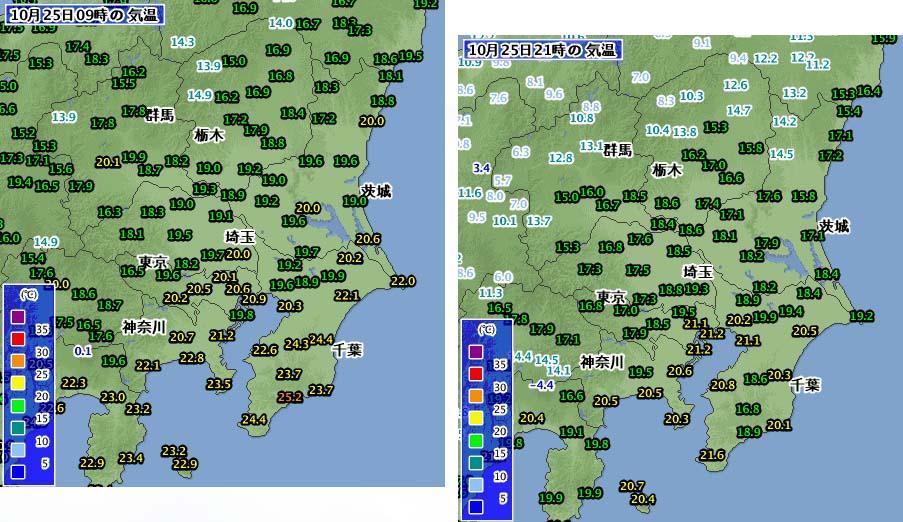 10月25日の09時と21時の気温