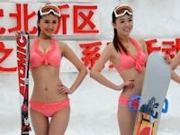 中国のスキー場でビキニ姿でミスコン開催