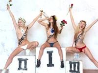 FEMENがトップレスでソチオリンピックを皮肉った抗議