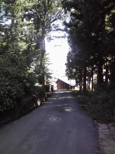 正受庵の丘に沿う坂道