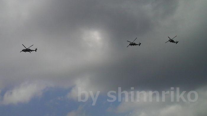 自衛隊のヘリコプター。手を伸ばせばとどきそうです。
