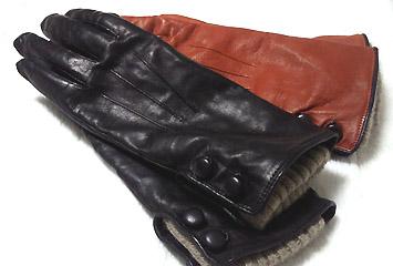 冬手袋。革&ニットは暖かい…