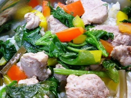 豚ヒレ肉と野菜たっぷりご飯