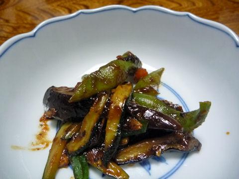ズッキーニと茄子の甜麺醤炒め