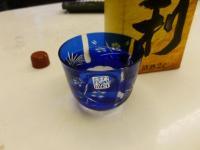 江戸切子のお猪口で清酒いただきます130506