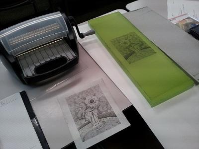 レタープレス機とコロタイプ刷版と刷上がり