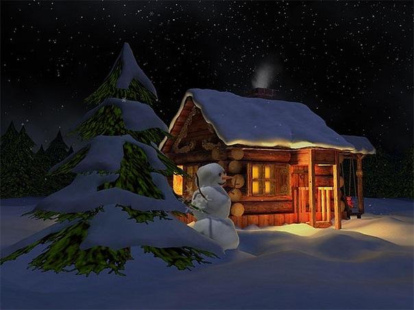 もみの木と雪だるまと家のimage