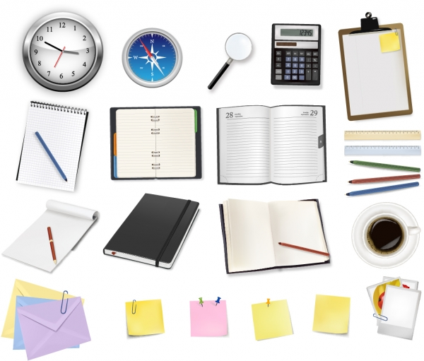 オフィス周りの文房具 office supplies and stationery vector