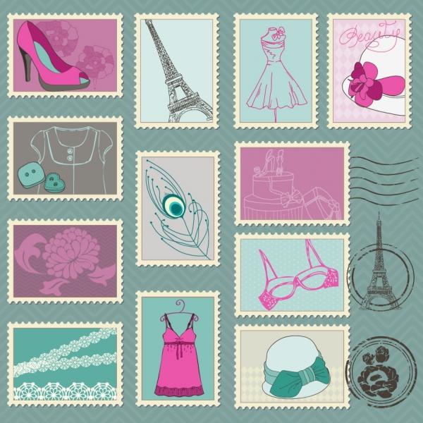 ファッション関連の切手見本 cartoon illustration stamp