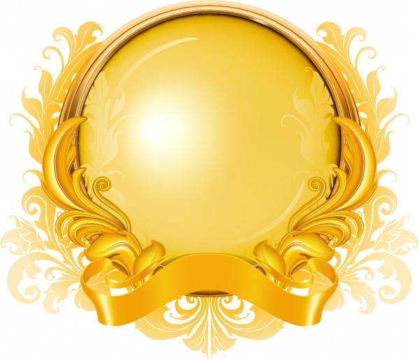 金色のリボンで包み込んだ球体 gold ribbon graphics pattern6