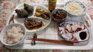 晩ご飯 煮付け・焼きナス・タコ刺身