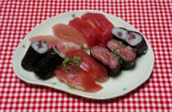 晩ご飯 母から差入れお寿司