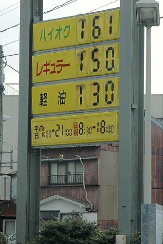 ついにリッター150円になったガソリンスタンド