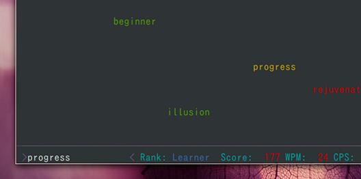 Typespeed Ubuntu タイピングゲーム 単語の入力