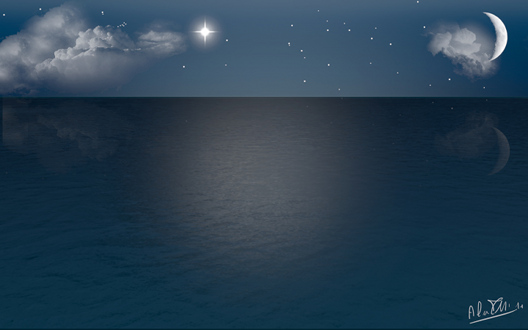 Ubuntu 壁紙 夜の海 Summer Night Sea