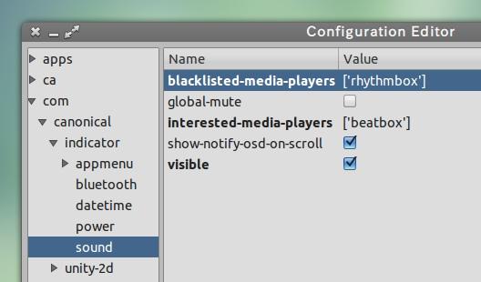 Ubuntu Unity パネル サウンドメニュー dconf-Editor