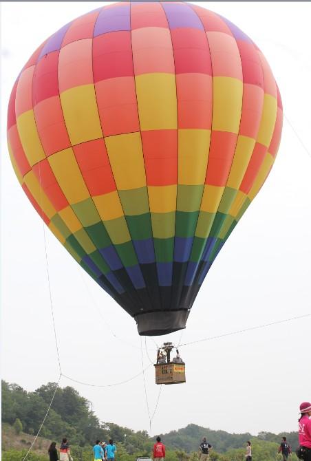 青空に浮かぶ大きな熱気球!