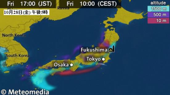 日本放射性物質拡散予想図