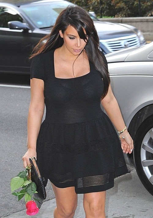 Kim Kardashian In A See-Thru Dress With Kanye West Out In NYC 003