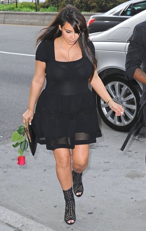 Kim Kardashian In A See-Thru Dress With Kanye West Out In NYC 004