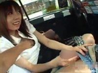 【無修正】本物タクシーで通報寸前ギリギリプレイ。超ド変態映像。
