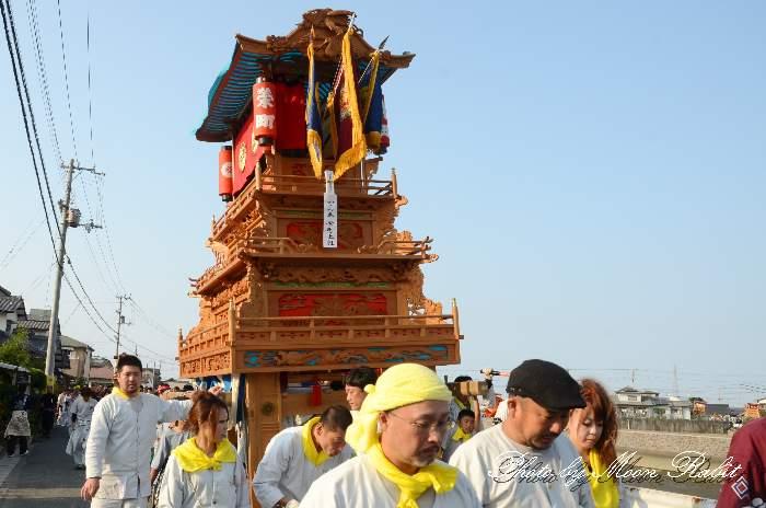 栄町上組屋台(だんじり) 室川堤防 統一運行 西条祭り2012