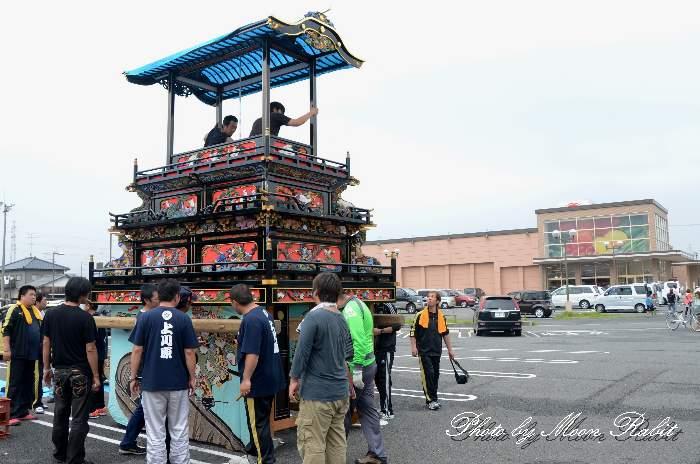 白洋舎クリーニング マルヨシ西条店 上川原屋台(だんじり) 組み立て 西条祭り2013