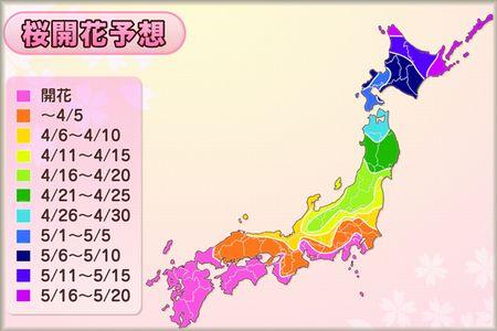 2012桜開花予報MAP