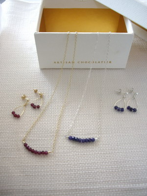 ruby and sapphire bar style necklace