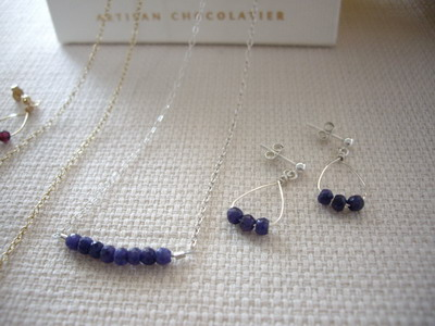 sapphire bar style necklace and earrings