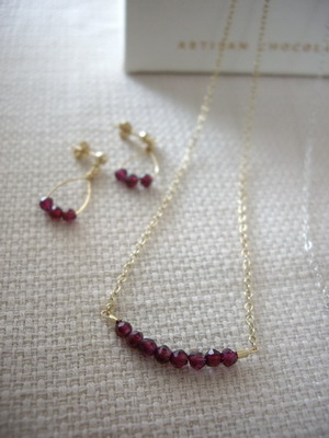 ruby bar style necklace and earrings