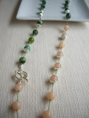 crisopraze and peach necklace