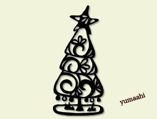 クリスマスツリー モノクロ切り絵