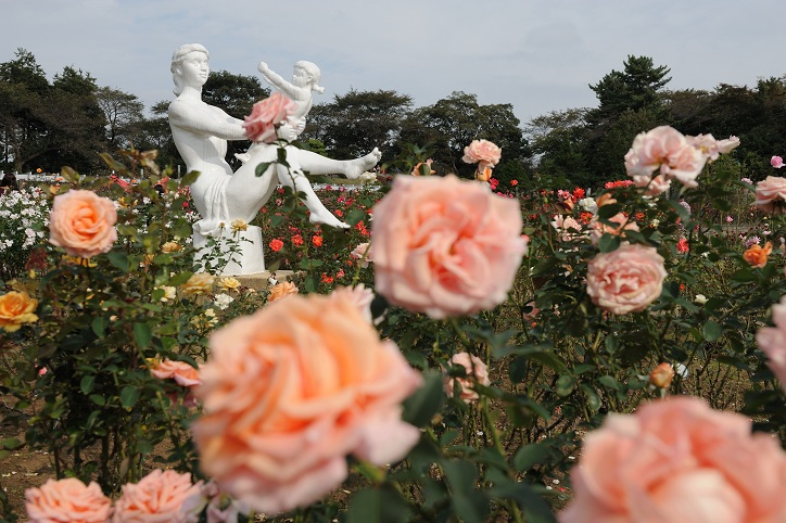 Statues in the flower garden
