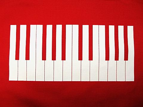 ロール・オン・ピアノトートバッグ レッド