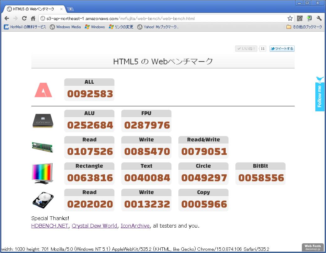 HTML5でパソコンの性能を測定する、Webベンチマークテスト - とむころりの開発日誌