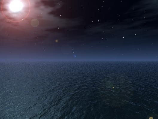 Ubuntu 壁紙 夜の海 Sea Night