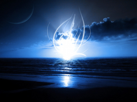 Ubuntu 壁紙 夜の海 The Glowing Thing