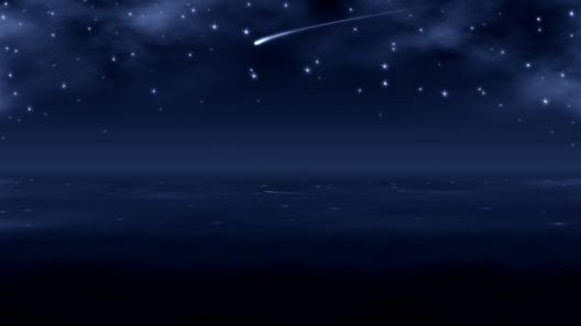 Ubuntu 壁紙 夜の海 Shooting Star