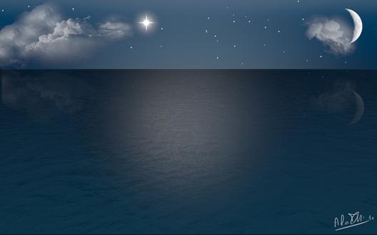 Ubuntu 壁紙 夜の海 Summer Night Sea