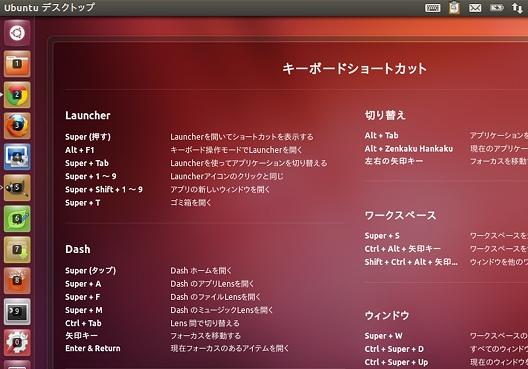 Ubuntu 12.04 LTS ショートカットキーの表示