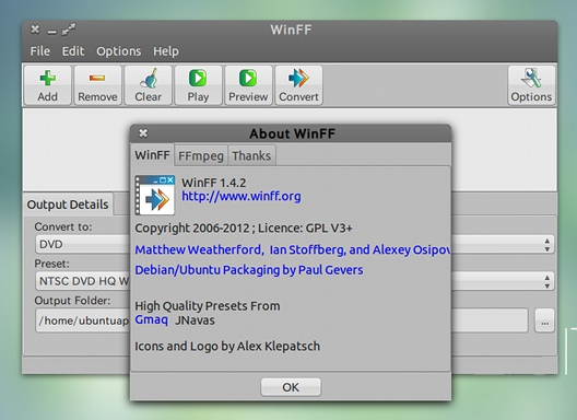 WinFF Ubuntu 動画変換 PPA インストール