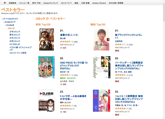 Kindleコミックランキング23位560